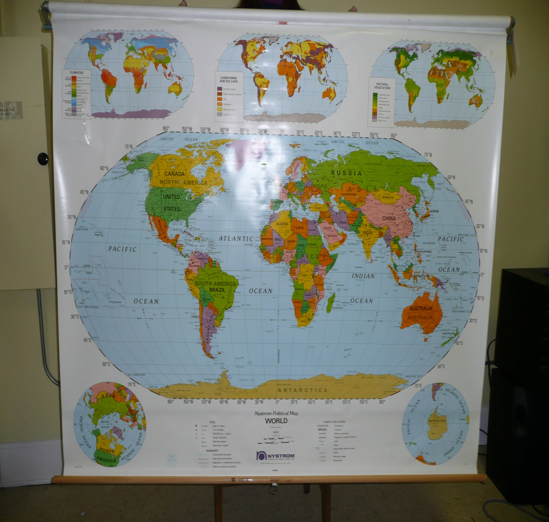 Nystrom World Map.World Map Retractable