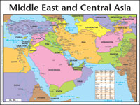 Middle east and central asia map wall chart laminated for 1040 window countries