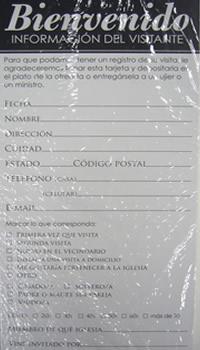 Tarjetas De Banca Bienvenido Informacion Del Visitante Pack Of 50